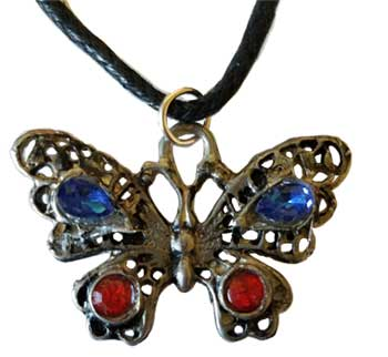 Butterfly Red & Blue amulet
