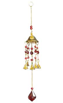 "16"" Red bead brass windchime"