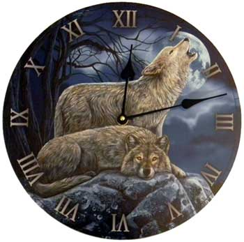 2 Wolves clock 11 1/2""