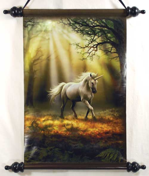 Anne Stokes Glimpse of a Unicorn Wall Scroll
