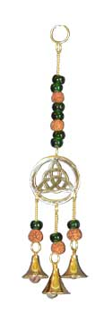 Triquetra W/ green beads wind chime