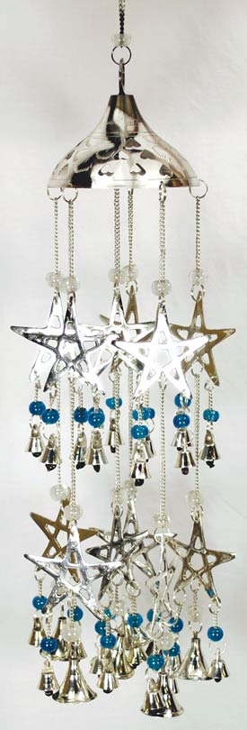 Silverplated Pentagram Wind Chime
