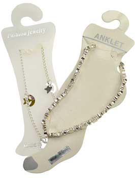 Silvertone Anklet With Stars & Moons