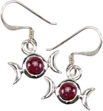 Garnet Triple Moon Earring