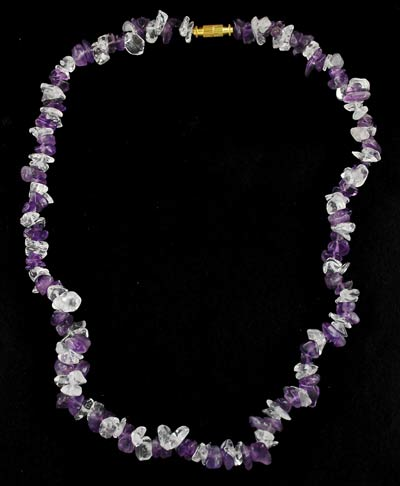 Quartz & Amethyst Chip Clasped Necklace