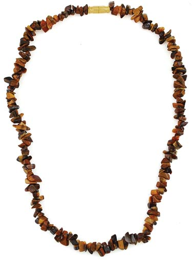 Tiger Eye Chip Clasped Necklace