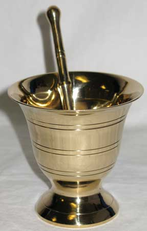 Large Brass Mortar and Pestle Set