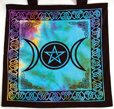 Triple Moon Pentagram Tote Bag