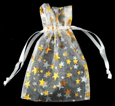Small White Organza Pouch with Gold Stars