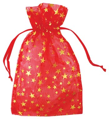 Large Red Organza Pouch with Gold Stars