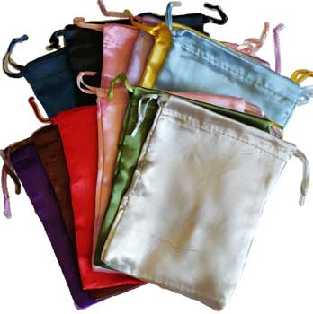 "12 pk 5"" x 6"" Satin pouches mixed colors"