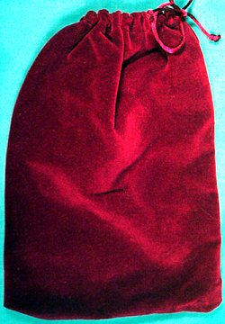 "Large Cranberry Velveteen Bag 5"" by 7"""