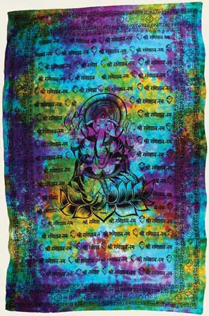 "Ganesha Tapestry 72"" by 108"""